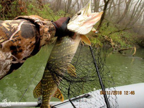 хорошая щука на малой реке в ноябре
