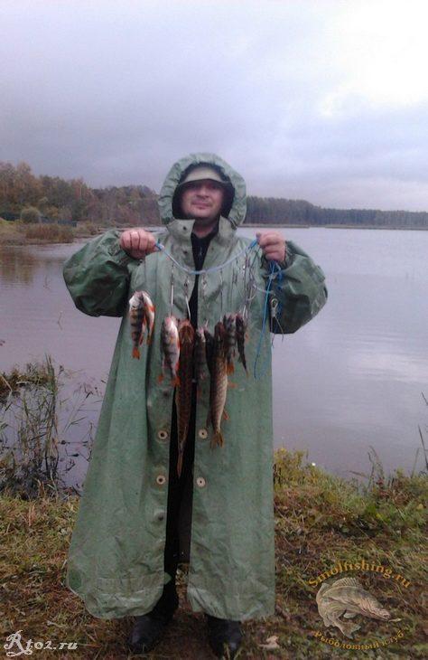 улов рыбы на озере