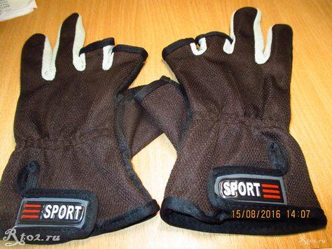 Коричневые перчатки для рыбалки с алиэкспресс 2