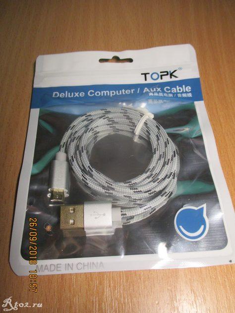 кабель usb Topk 1 M в оплетке 1