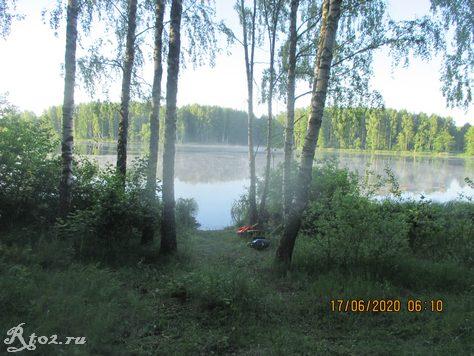 Наша стоянка в июне на водохранилище