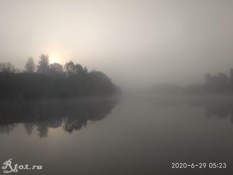 Туман на Днепре в июне 2020